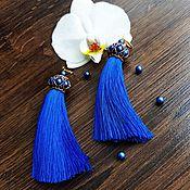 Украшения ручной работы. Ярмарка Мастеров - ручная работа Серьги кисти синие Saphire. Handmade.