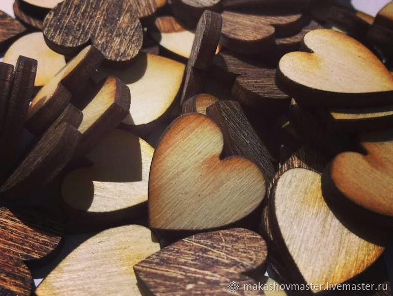 Hearts of plywood, Blanks for decoupage and painting, Moscow,  Фото №1