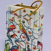"""Для дома и интерьера ручной работы. Ярмарка Мастеров - ручная работа Ваза """" Экзотические птицы"""".. Handmade."""
