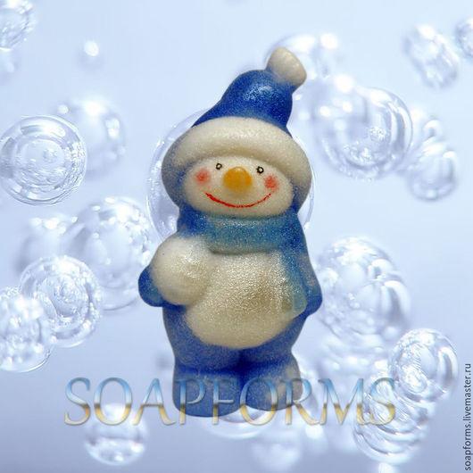 Силиконовая форма для мыла `Снеговик со снежком` 3D (на фото работа выполненная в мыле)