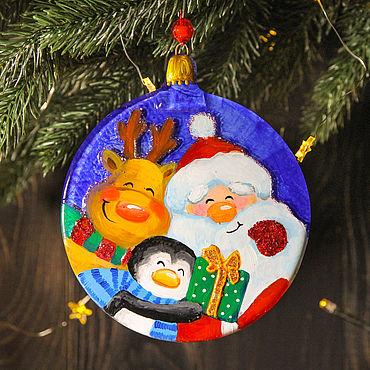Сувениры и подарки. Ярмарка Мастеров - ручная работа Елочный шар, диаметр 12 см, фьюзинг, стекло, роспись. Handmade.