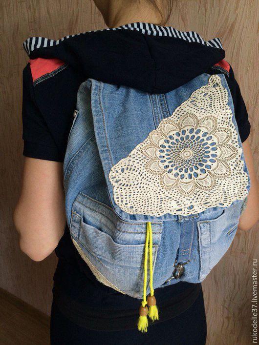 Рюкзаки ручной работы. Ярмарка Мастеров - ручная работа. Купить Рюкзак джинсовый. Handmade. Синий, рюкзак женский