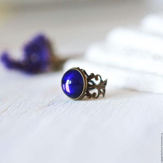 """Кольца ручной работы. Ярмарка Мастеров - ручная работа. Купить Кольцо винтажное """"Ночь для меня"""". Handmade. Тёмно-синий, винтаж"""