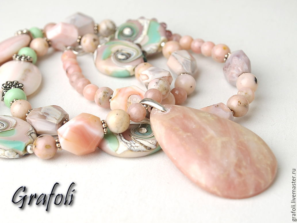 Long necklace with pink opal, Pendants, Moscow,  Фото №1
