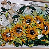 """Картины и панно ручной работы. Ярмарка Мастеров - ручная работа Объемная картина из кожи """"Подсолнухи"""". Handmade."""