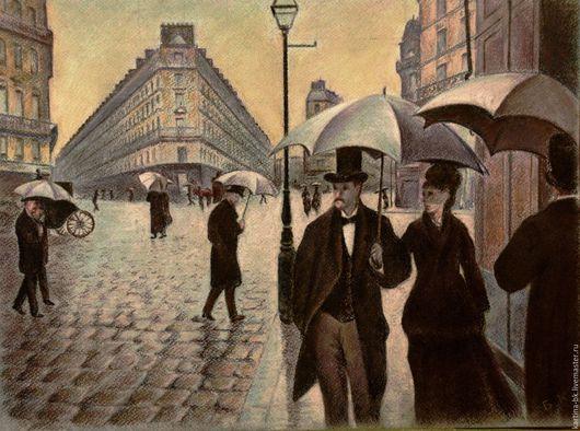 Город ручной работы. Ярмарка Мастеров - ручная работа. Купить Дождливый день в Париже. Handmade. Париж, пастель