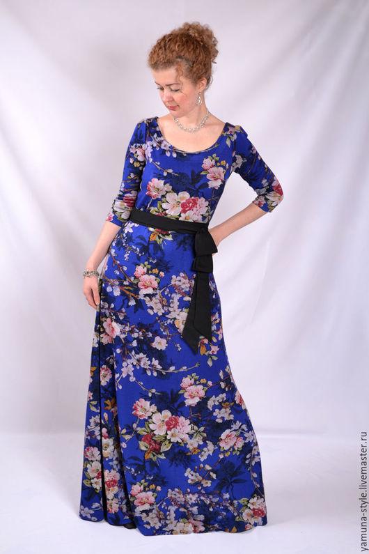 Платья ручной работы. Ярмарка Мастеров - ручная работа. Купить Платье весеннее синее с цветами.. Handmade. Тёмно-синий