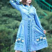 Одежда ручной работы. Ярмарка Мастеров - ручная работа Голубое Вышитое льняное платье Вышиванка Льняное Бохо платье. Handmade.