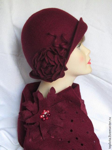 """Шляпы ручной работы. Ярмарка Мастеров - ручная работа. Купить Шляпка валяная """"Фруктово-ягодный десерт""""+шарф с брошкой. Handmade."""