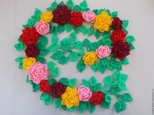 Шарфы и шарфики ручной работы. Ярмарка Мастеров - ручная работа. Купить Вязаный шарф с розами. Handmade. Разноцветный, вязаные розы