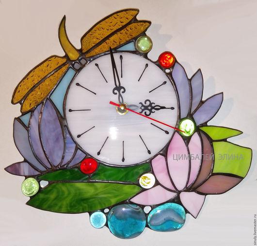 """Часы для дома ручной работы. Ярмарка Мастеров - ручная работа. Купить Витражные часы""""Стрекоза"""". Handmade. Стрекоза, настенные часы"""