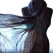 Аксессуары handmade. Livemaster - original item Silk scarf stole long dark brown green Blue female. Handmade.