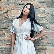 """Одежда ручной работы. Ярмарка Мастеров - ручная работа Белое платье из хлопка """"Элегантность"""". Handmade."""