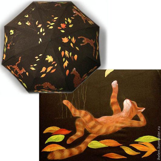 """Зонты ручной работы. Ярмарка Мастеров - ручная работа. Купить Зонт """" Как рыжий в гости ходил"""". Handmade. Черный"""