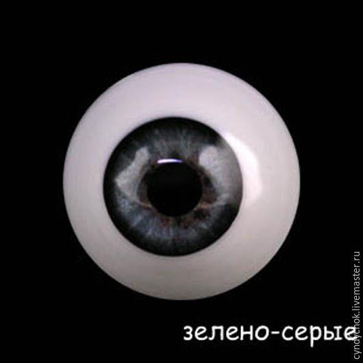 16 мм, серо-зеленые  Глаза акриловые для кукол, , Жирона, Фото №1