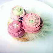 """Украшения ручной работы. Ярмарка Мастеров - ручная работа Брошь цветок , """"Мятно-розовый букетик"""". Handmade."""
