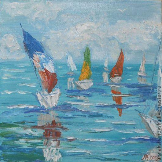 """Пейзаж ручной работы. Ярмарка Мастеров - ручная работа. Купить Картина """"Регата"""". Handmade. Бирюзовый, море, регата, яхта, яхты"""