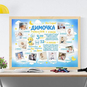 Дизайн и реклама ручной работы. Ярмарка Мастеров - ручная работа Коллаж 12 месяцев на 1 годик детский плакат постер. Handmade.