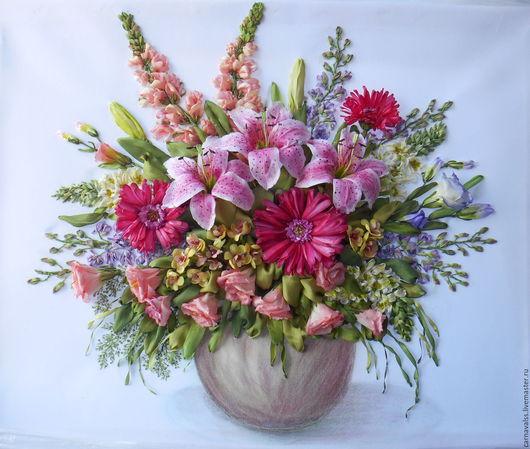 Картины цветов ручной работы. Ярмарка Мастеров - ручная работа. Купить Букет в розовых тонах. Handmade. Комбинированный, цветы в вазе