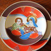 Винтаж handmade. Livemaster - original item Antique plate and saucer, hand-painted, Imari, Japan. Handmade.