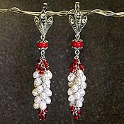 Украшения handmade. Livemaster - original item Pearl earrings with coral. Handmade.