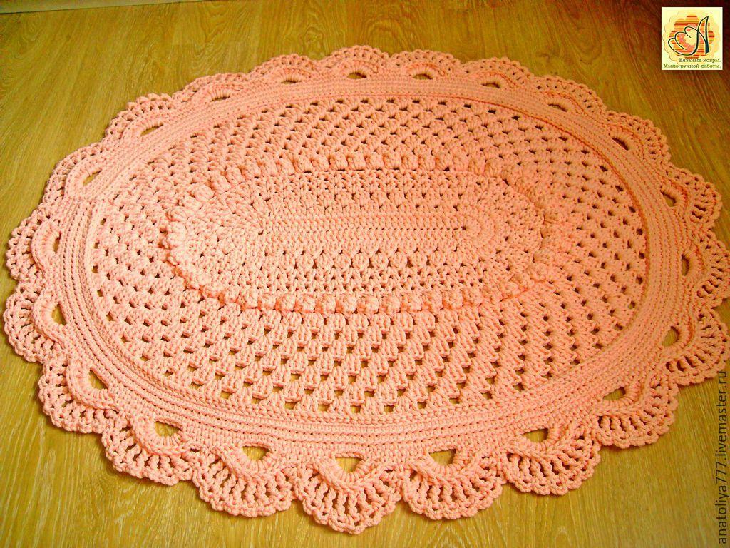 Вязание ковров из шнура овальные