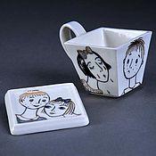"""Посуда ручной работы. Ярмарка Мастеров - ручная работа Чайная пара """"Про любовь"""". Handmade."""