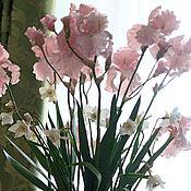 Цветы и флористика handmade. Livemaster - original item Irises.Bouquet of irises pink.A bouquet of flowers.Modeling.Polymer clay. Handmade.