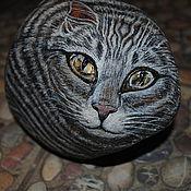 """Подарки к праздникам ручной работы. Ярмарка Мастеров - ручная работа арт-объект, сувенир """"каменный кот"""". Handmade."""