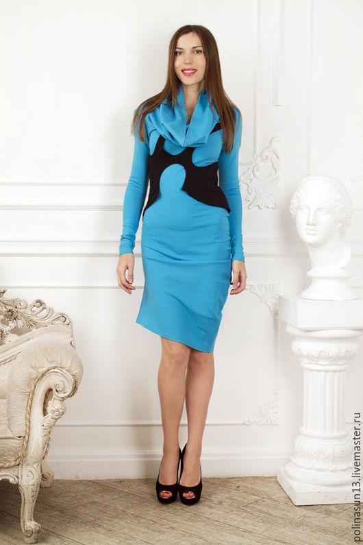 """Платья ручной работы. Ярмарка Мастеров - ручная работа. Купить Небесно голубое платье """"Хомут"""". Handmade. Однотонный, дизайнерское платье"""