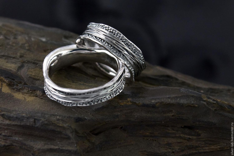 Кольца ручной работы. Ярмарка Мастеров - ручная работа. Купить Фактурное кольцо из серебра. Handmade. Серебряный, обручальные кольца