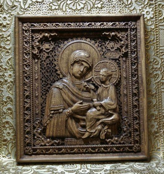 Иконы ручной работы. Ярмарка Мастеров - ручная работа. Купить Резная Икона из дерева - Тихвинская Икона Божией матери. Handmade.