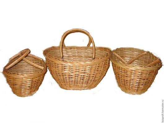 Корзины, коробы ручной работы. Ярмарка Мастеров - ручная работа. Купить Плетеная корзина для грибов из ивовой лозы с двумя ручками. Handmade.