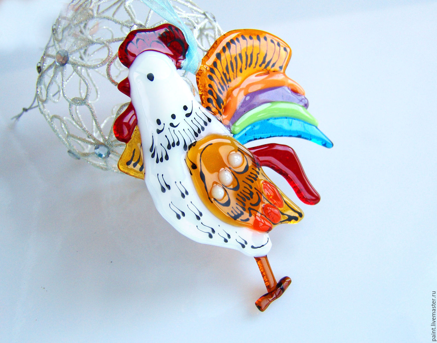Cock of glass. cock the symbol of 2017. Cock fusing. glass, Christmas decorations, Khabarovsk,  Фото №1