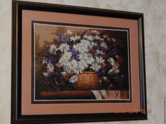 Картины цветов ручной работы. Ярмарка Мастеров - ручная работа. Купить Цветы в корзинке. Handmade. Вышивка крестом, канва