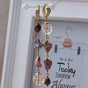 Украшения handmade. Livemaster - original item Earrings with pearls and citrine