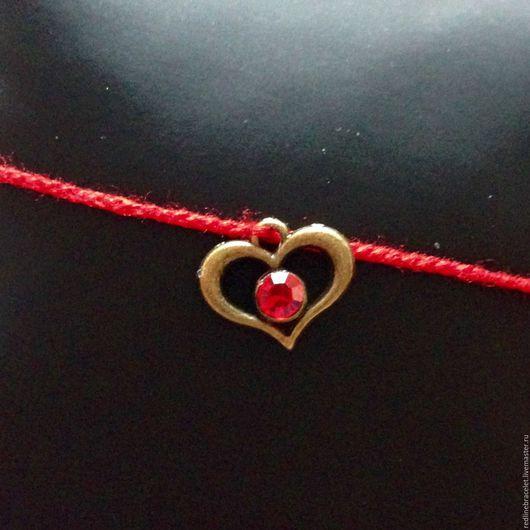Обереги, талисманы, амулеты ручной работы. Ярмарка Мастеров - ручная работа. Купить Сердце Браслет Желаний. Handmade. Ярко-красный
