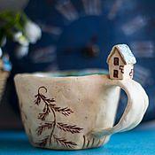 Посуда ручной работы. Ярмарка Мастеров - ручная работа Кружка керамика Дом у озера. Handmade.