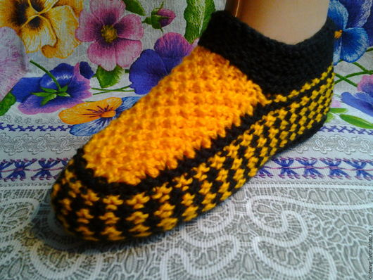 Обувь ручной работы. Ярмарка Мастеров - ручная работа. Купить Тапочки следки вязаные  7. Handmade. Комбинированный, вязание спицами