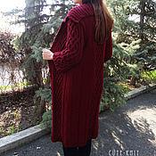 "Одежда handmade. Livemaster - original item Вязаный кардиган длинный ""Марсала"" цвет бордовый. Handmade."