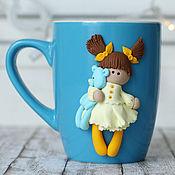 """Посуда ручной работы. Ярмарка Мастеров - ручная работа Чашка """"Девочка с мимимишкой"""". Handmade."""