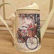 Цветы и флористика ручной работы. Ярмарка Мастеров - ручная работа Лейка с велосипедом. Handmade.
