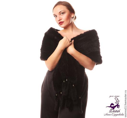 Дизайнер Анна Сердюкова (Дом Моды SEANNA).  Вязаный из натуральной норки шарф-палантин. Роскошный и очень эффектный! Цена - 45000 руб. Бесплатная доставка.