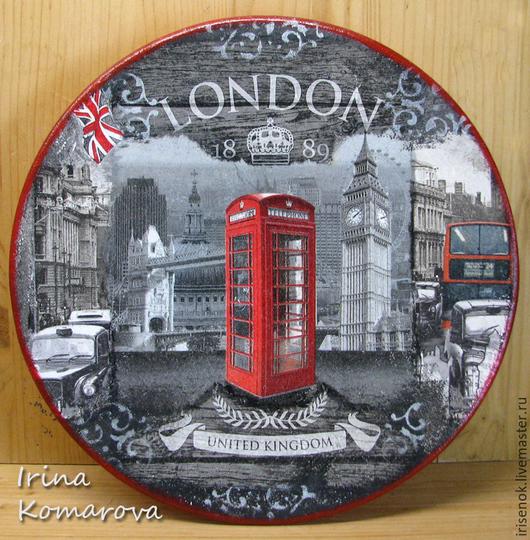 """Декоративная посуда ручной работы. Ярмарка Мастеров - ручная работа. Купить """"Лондон"""", большая тарелка. Handmade. Темно-серый, англия"""