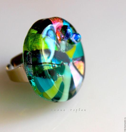 Кольца ручной работы. Ярмарка Мастеров - ручная работа. Купить кольцо из стекла, фьюзинг  Загадка. Handmade. Зеленый, украшения