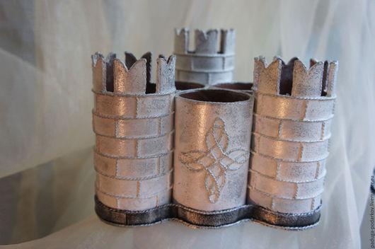 Персональные подарки ручной работы. Ярмарка Мастеров - ручная работа. Купить Карандашница из плотного картона,название работы Замок. Handmade.