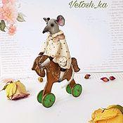 Тедди Зверята ручной работы. Ярмарка Мастеров - ручная работа Текстильная мышь. Миниатюра.Интерьерное украшение.. Handmade.