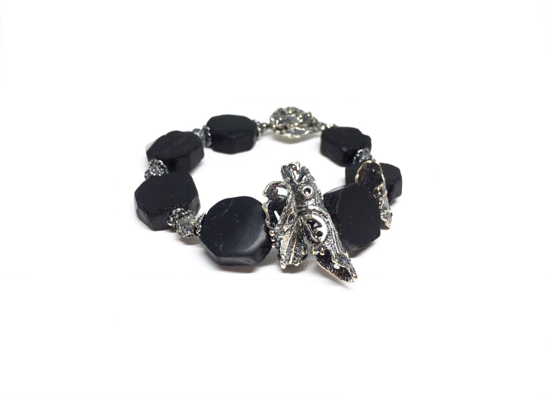 Bracelet Schorl natural,architectural hardware Anna Black silver, Bead bracelet, Moscow,  Фото №1