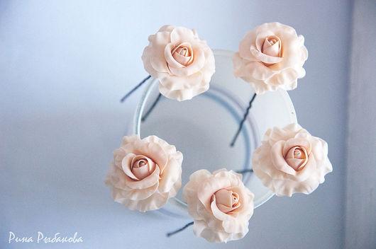 Barrettes handmade. Livemaster - handmade. Buy Stud 'Roses defenseless spikes'.Hair barrettes, hair ornaments, polymer clay