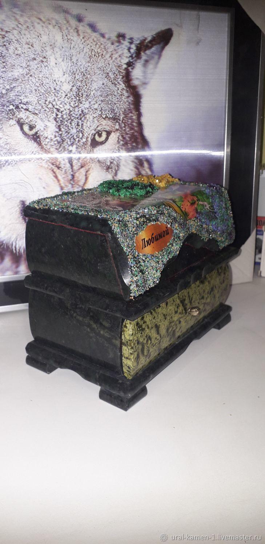 Шкатулка из камня змеевик, Шкатулки, Челябинск,  Фото №1